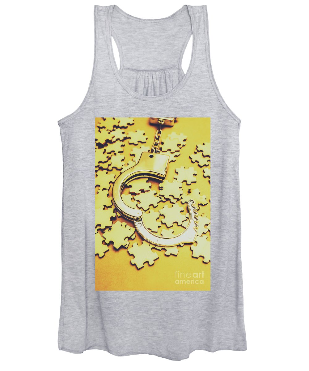 Open Women's Tank Top featuring the photograph Scattered Clues In A Unsolved Investigation by Jorgo Photography - Wall Art Gallery