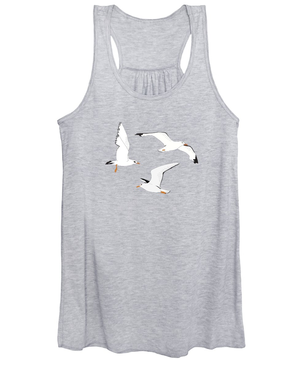Seagulls Women's Tank Top featuring the digital art Seagulls Gathering At The Cricket by Elizabeth Tuck