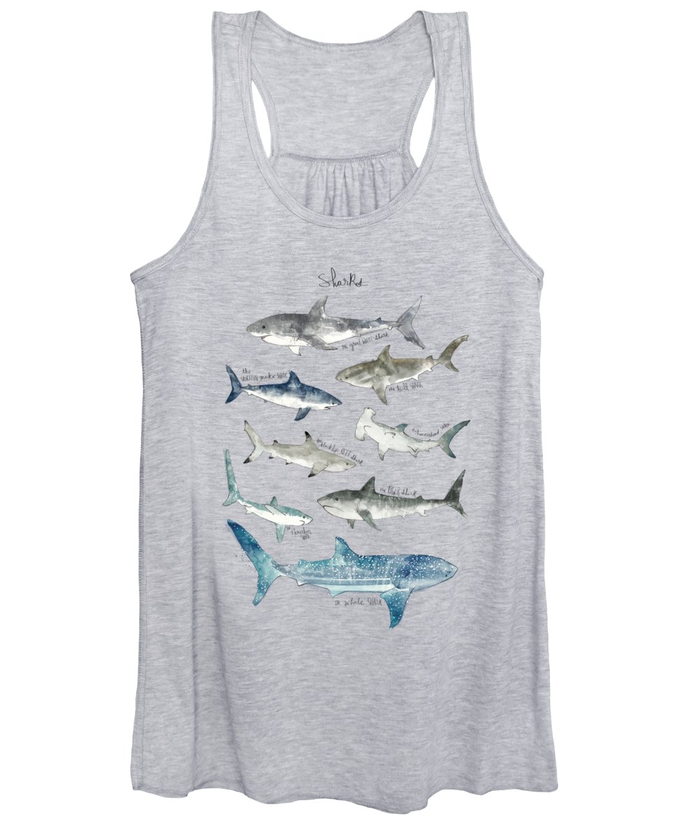 Sharks Women's Tank Top featuring the painting Sharks by Amy Hamilton