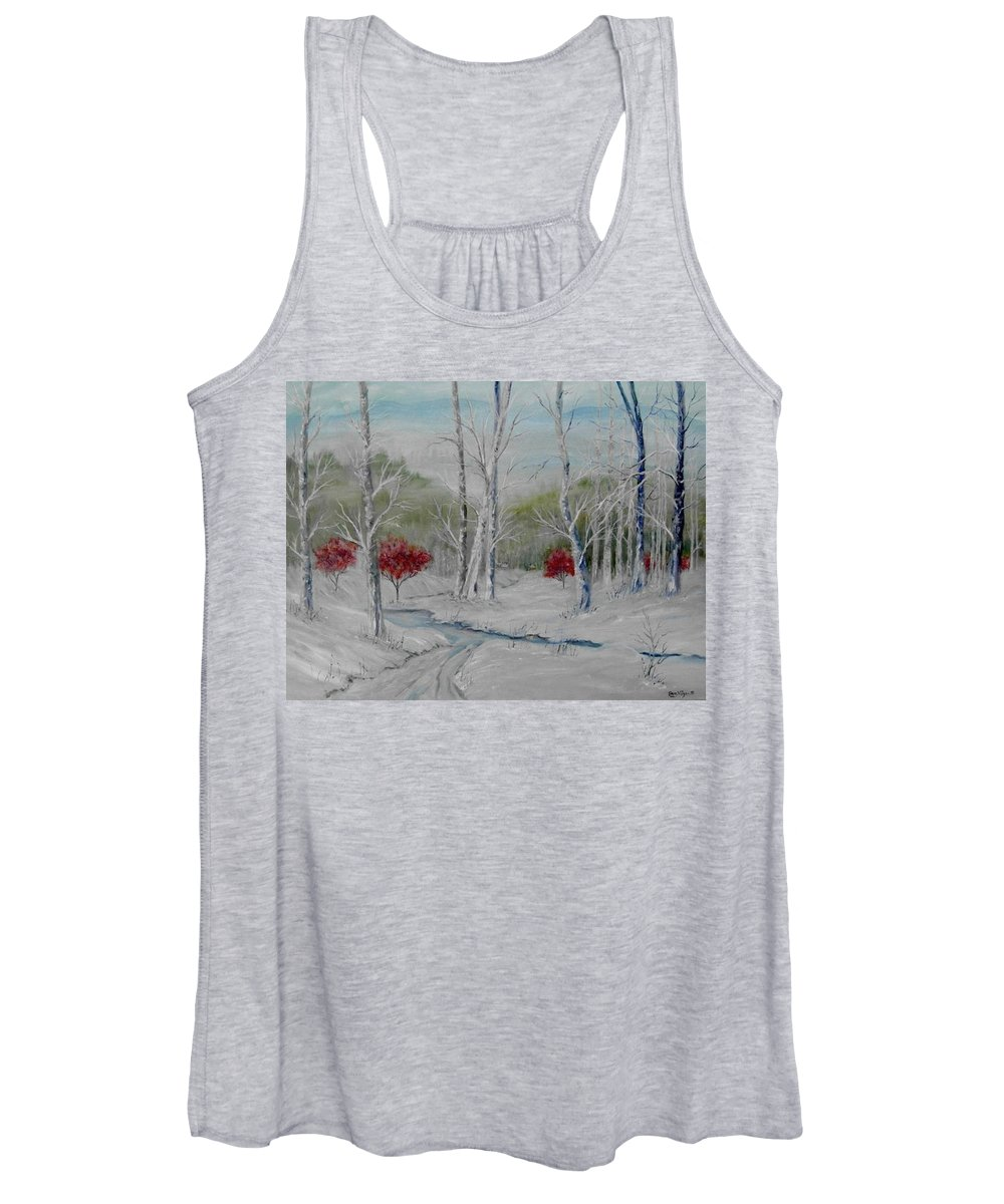 Snow; Winter; Birch Trees Women's Tank Top featuring the painting Silence by Ben Kiger