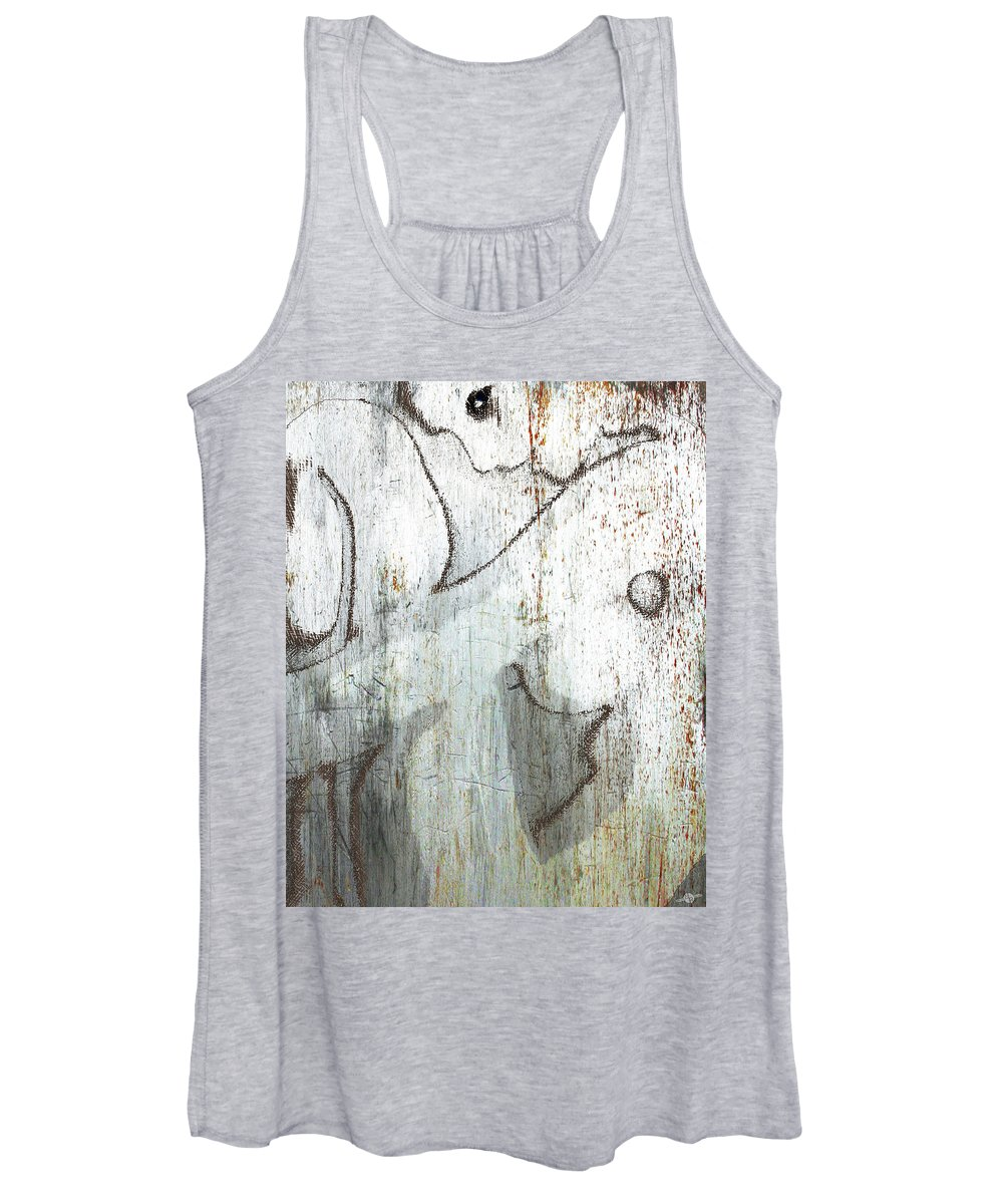 Woman Women's Tank Top featuring the mixed media Silver Woman by Tony Rubino