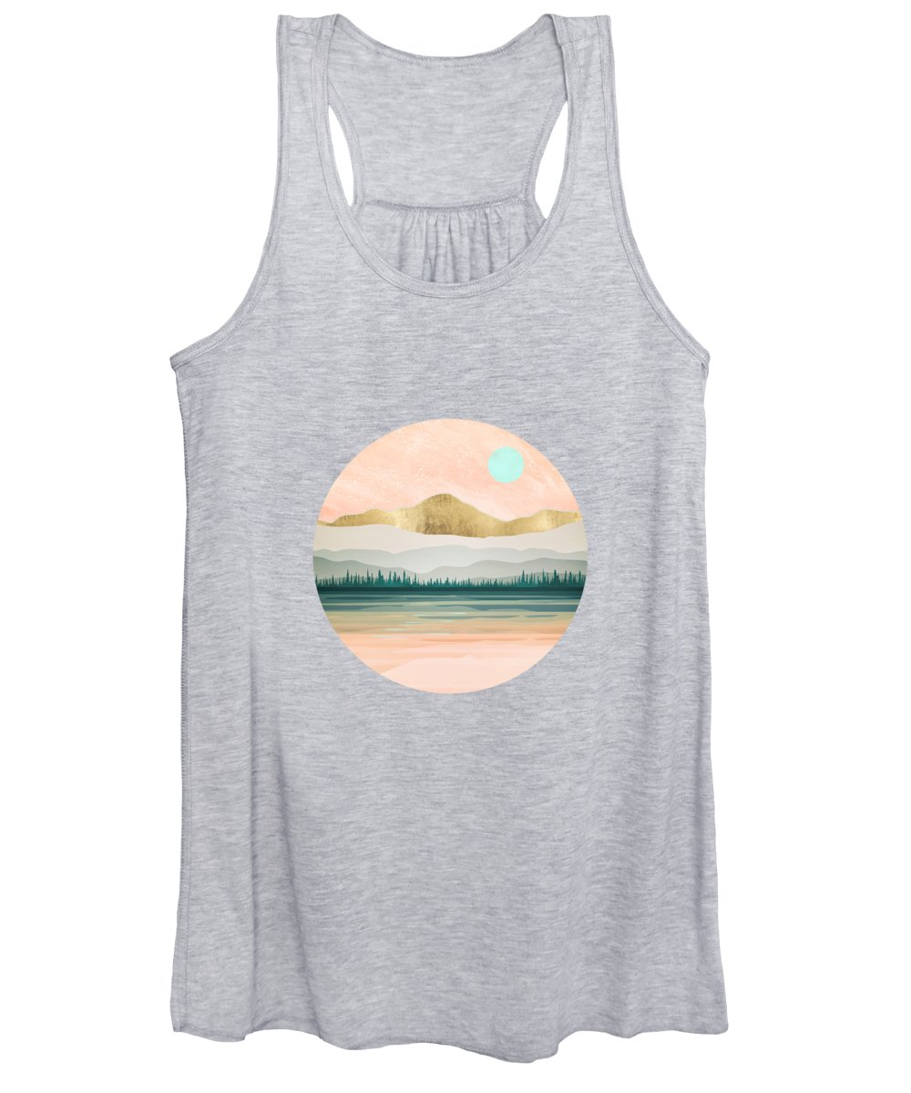 Spring Women's Tank Top featuring the digital art Spring Forest Lake by Spacefrog Designs