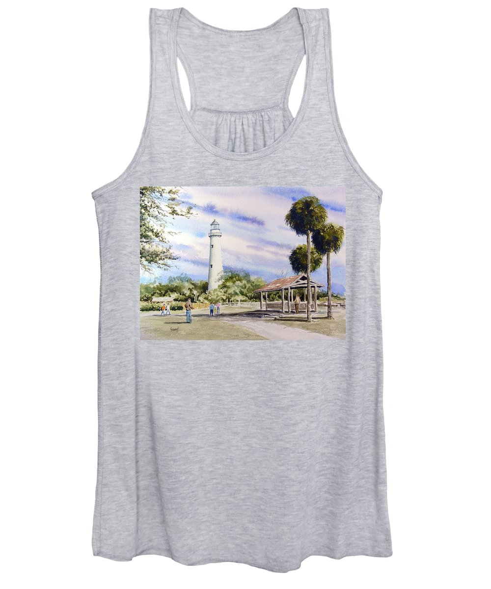 Lighthouse Women's Tank Top featuring the painting St. Simons Island Lighthouse by Sam Sidders