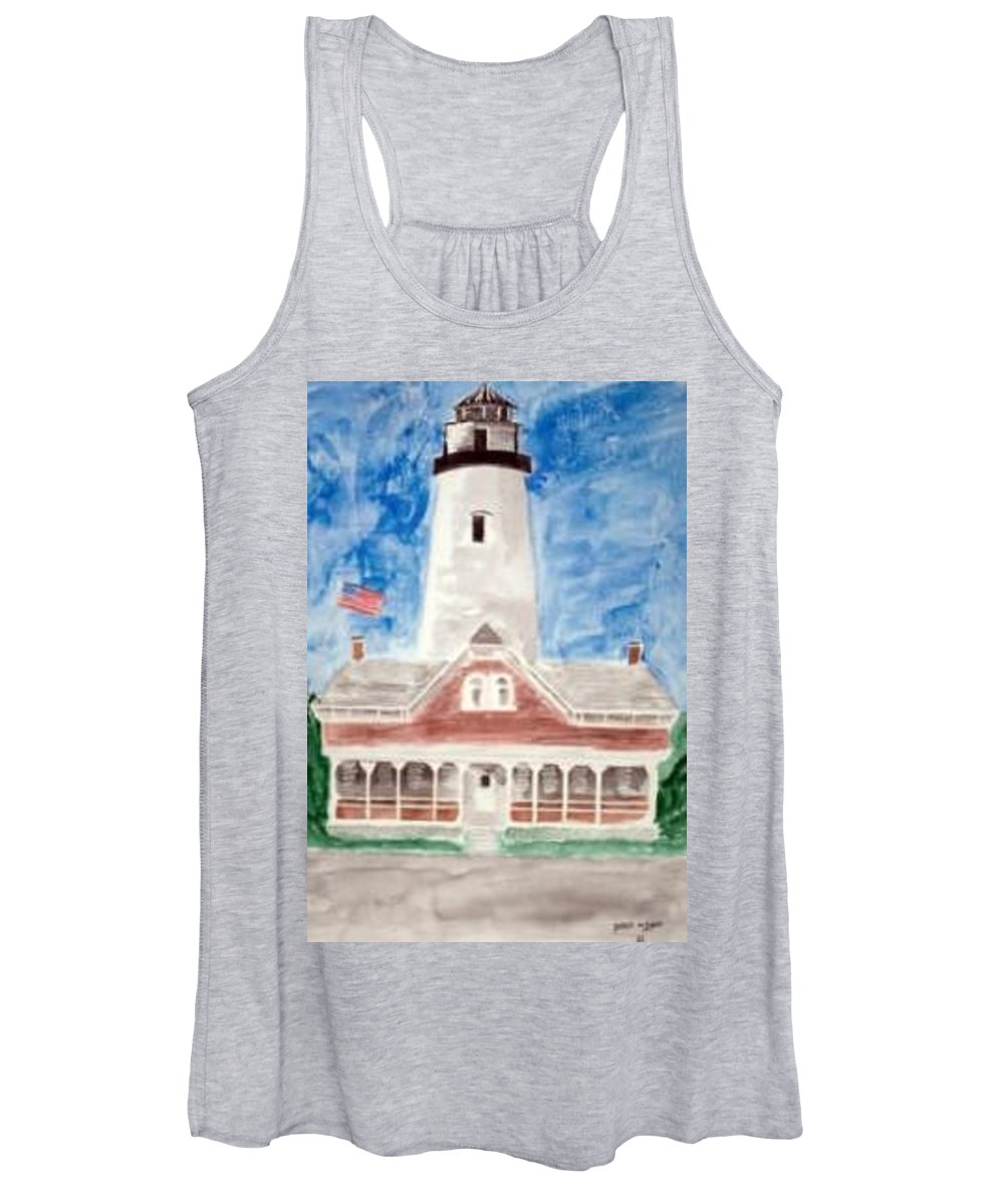 Watercolor Landscape Lighthouse Seascape Painting Women's Tank Top featuring the painting ST SIMONS LIGHTHOUSE nautical painting print by Derek Mccrea