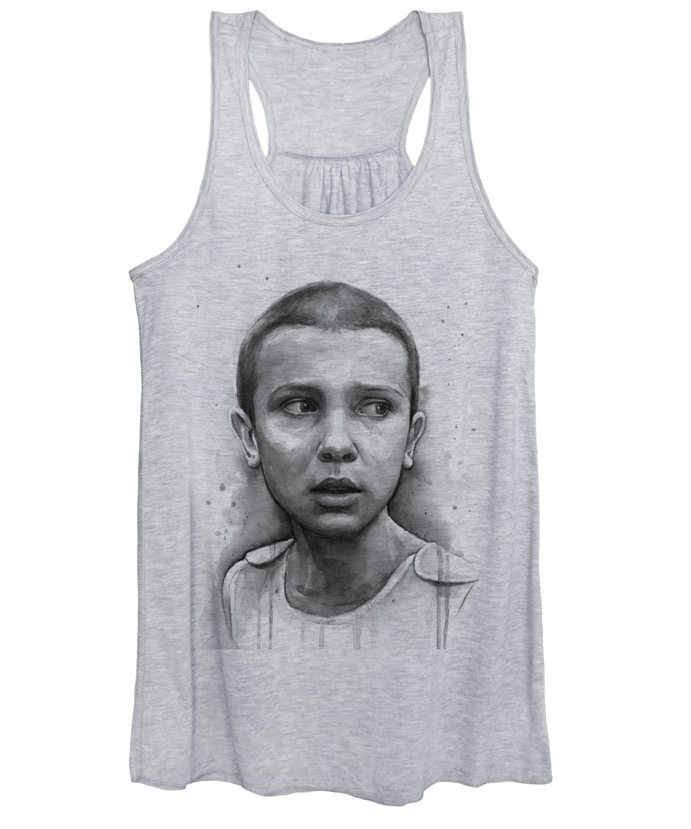 Stranger Things Women's Tank Top featuring the painting Stranger Things Eleven Upside Down Art Portrait by Olga Shvartsur