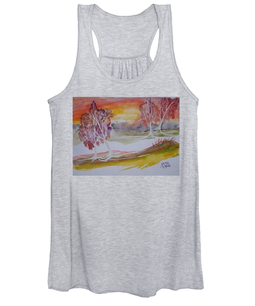 Impressionistic Women's Tank Top featuring the painting SUNRISE surreal modern landscape painting fine art poster print by Derek Mccrea