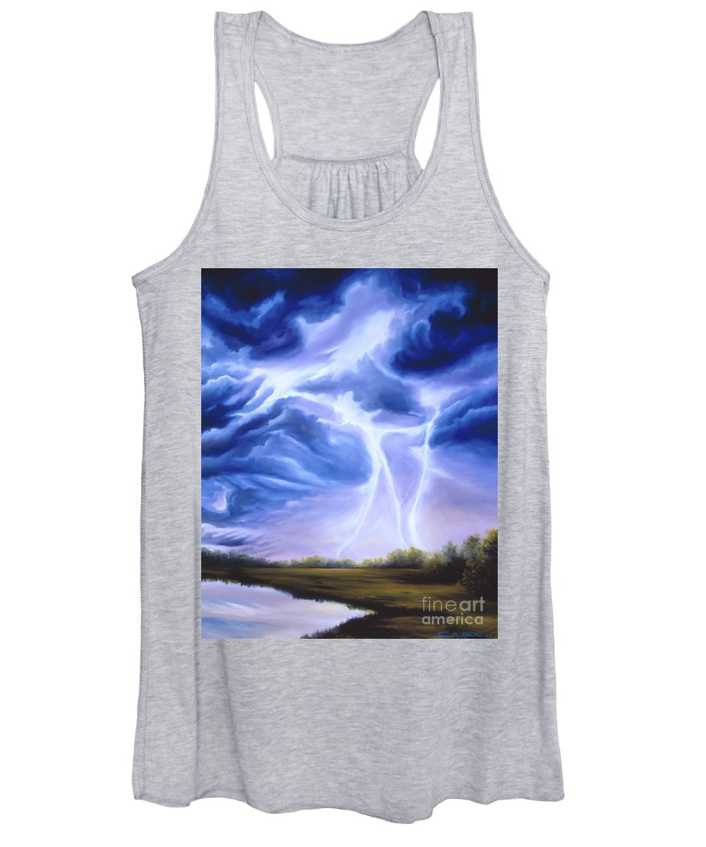 Marsh Women's Tank Top featuring the painting Tesla by James Christopher Hill