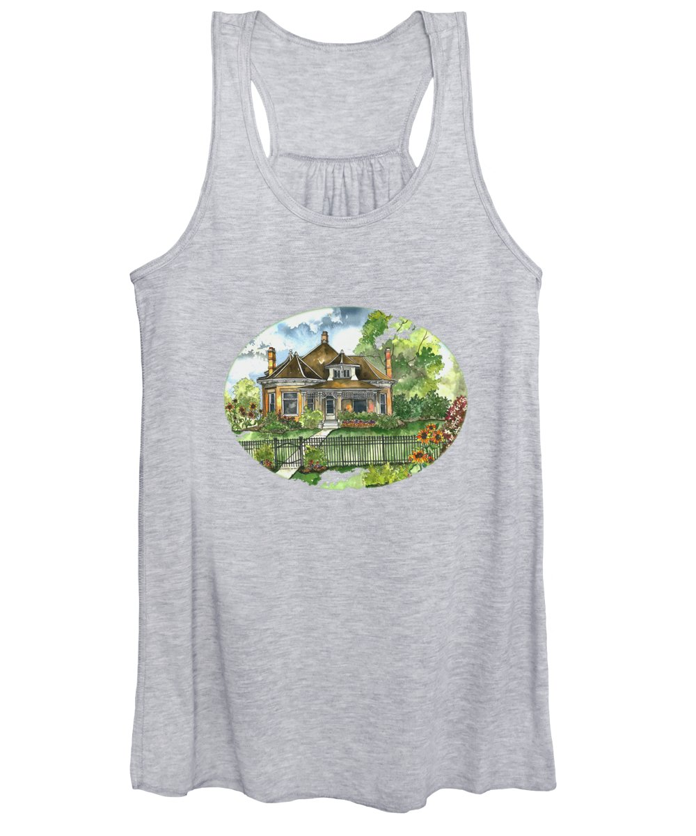 Victorian House Women's Tank Top featuring the painting The House On Spring Lane by Shelley Wallace Ylst