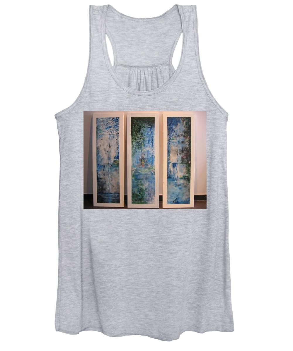 Meditation Women's Tank Top featuring the painting Triptych SPIRITUAL MEDITATION by Lizzy Forrester