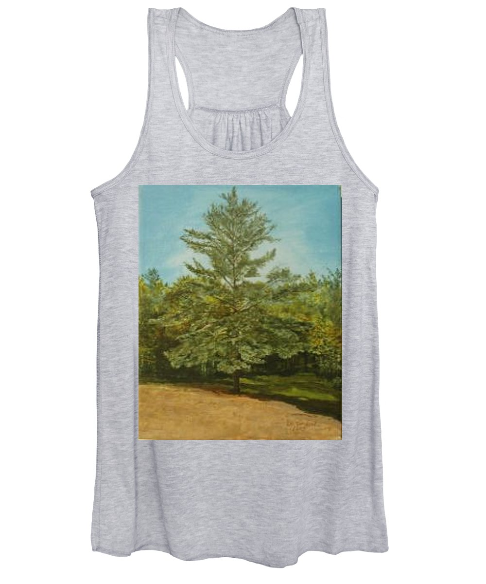 Pine Tree Women's Tank Top featuring the painting White Lake by Leah Tomaino