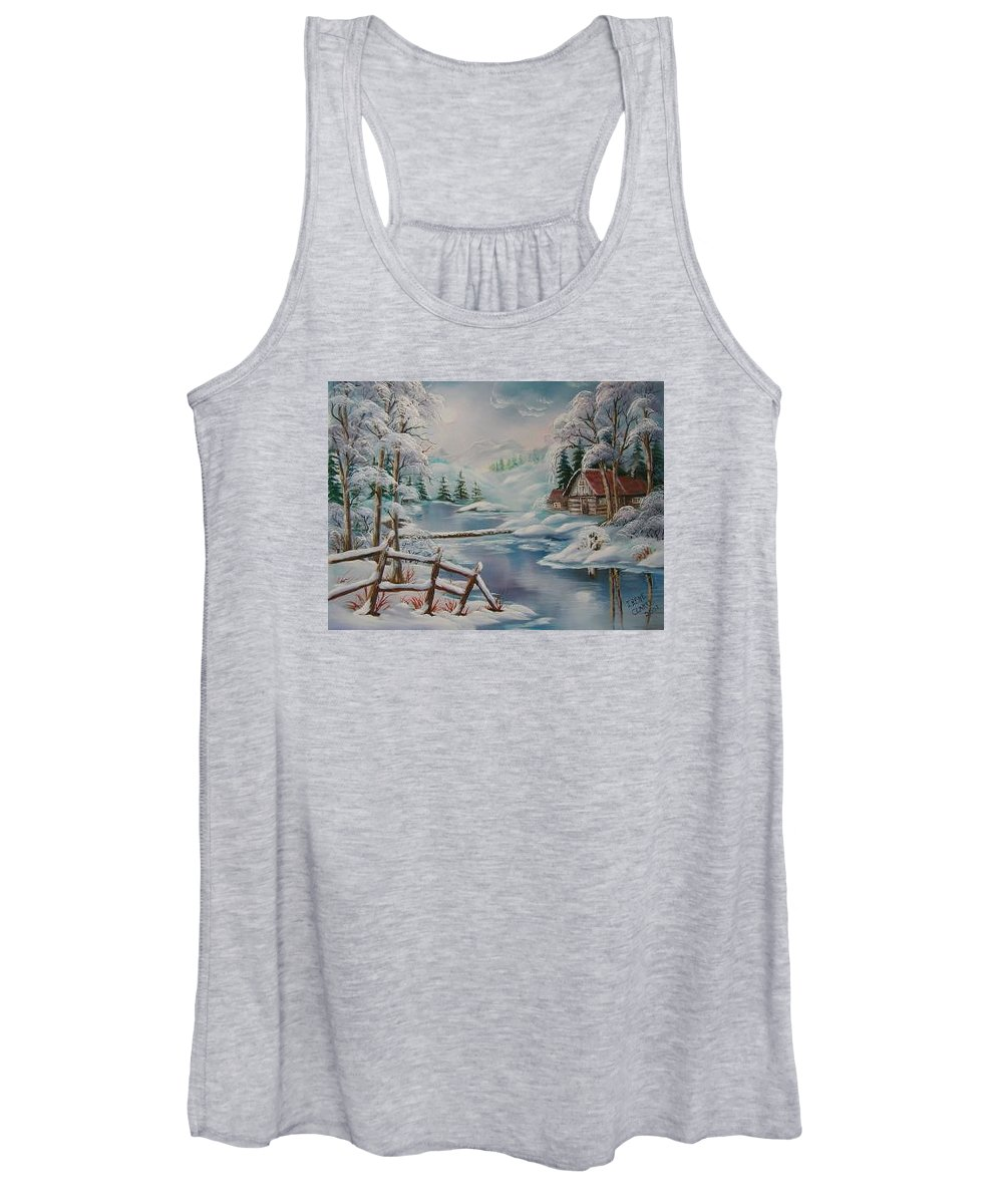 Winter Scapes Women's Tank Top featuring the painting Winter In The Valley by Irene Clarke