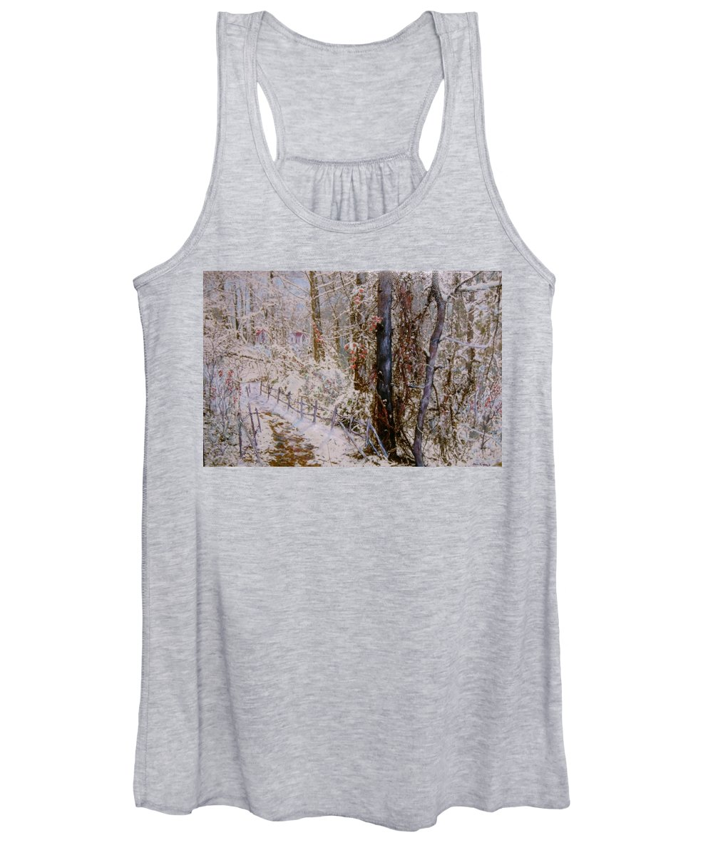 Snow; Trees Women's Tank Top featuring the painting Winter Wonderland by Ben Kiger