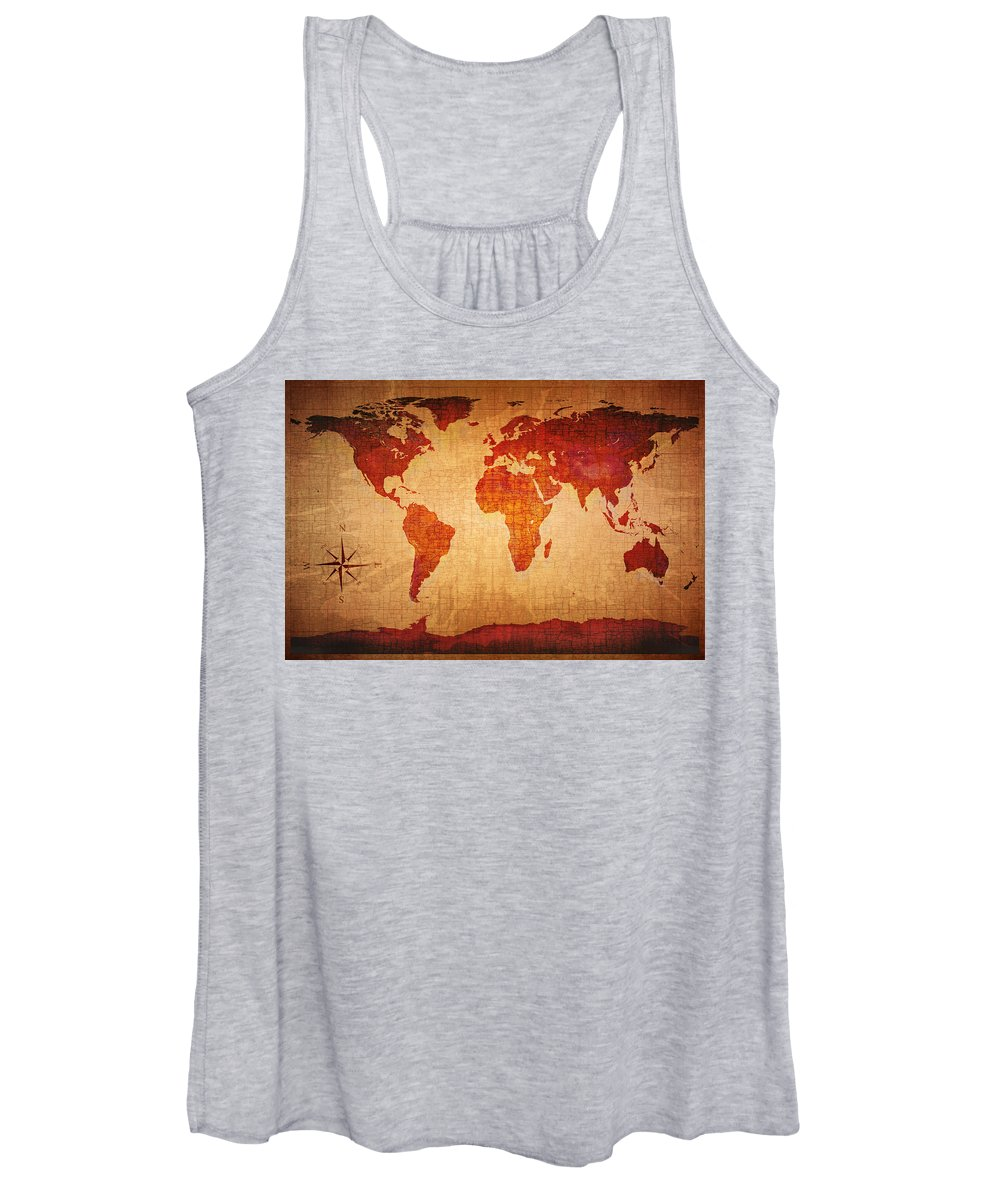World Women's Tank Top featuring the photograph World Map Grunge Style by Johan Swanepoel