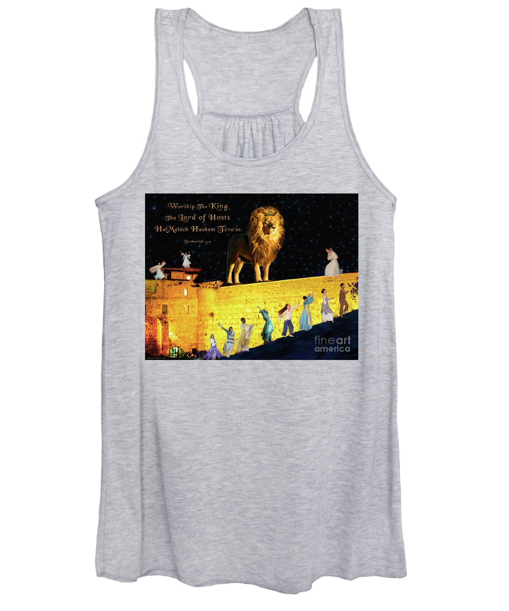 Lion Women's Tank Top featuring the digital art Worship The King by Constance Woods