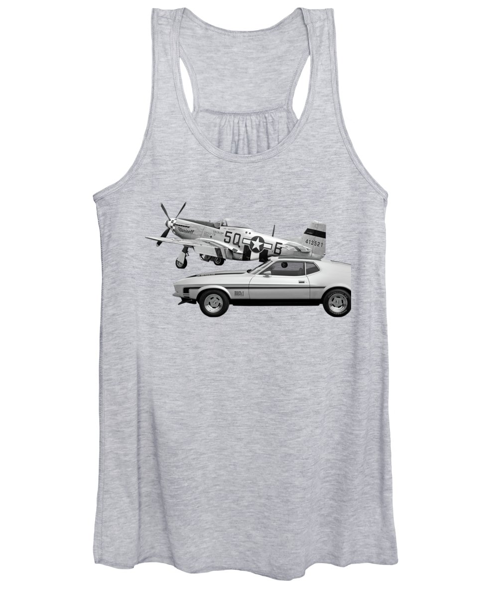 Mustang With P51 Women's Tank Top featuring the photograph Mach 1 Mustang With P51 In Black And White by Gill Billington