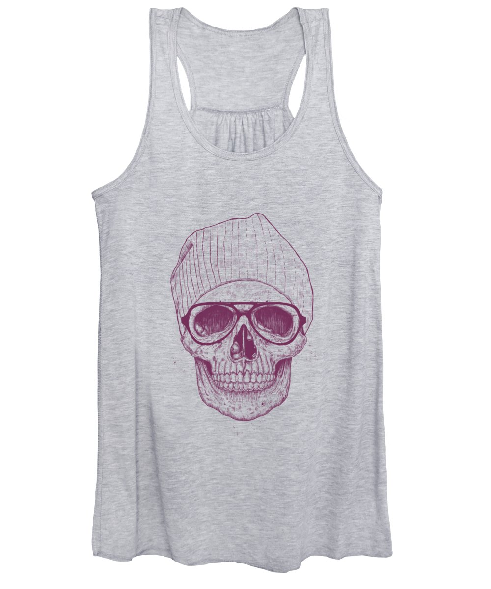 Skull Women's Tank Top featuring the drawing Cool skull by Balazs Solti