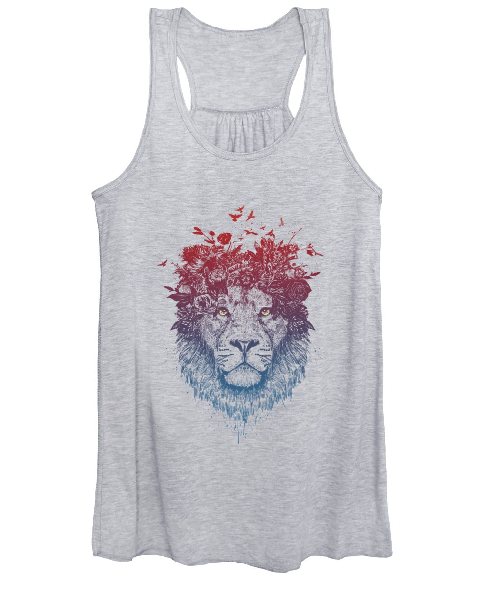 Lion Women's Tank Top featuring the drawing Floral lion III by Balazs Solti