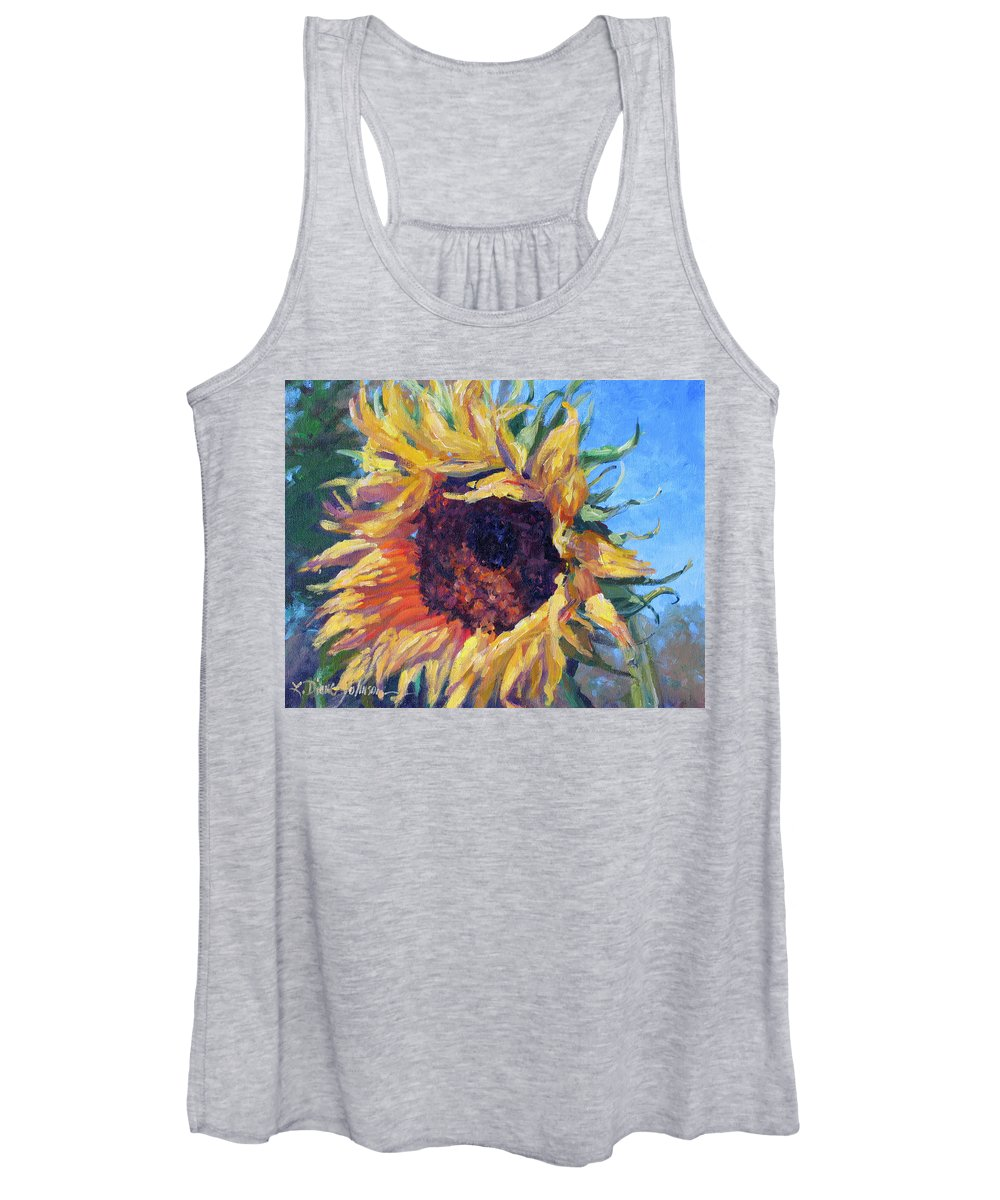 Sunflower Landscape Women's Tank Top featuring the painting Good Mornin by L Diane Johnson
