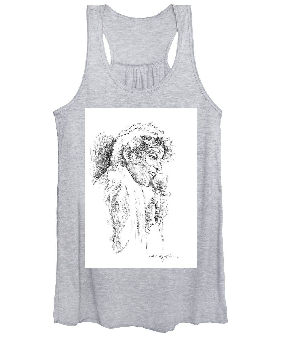 Michael Jackson Women's Tank Top featuring the painting Michael Jackson Song by David Lloyd Glover