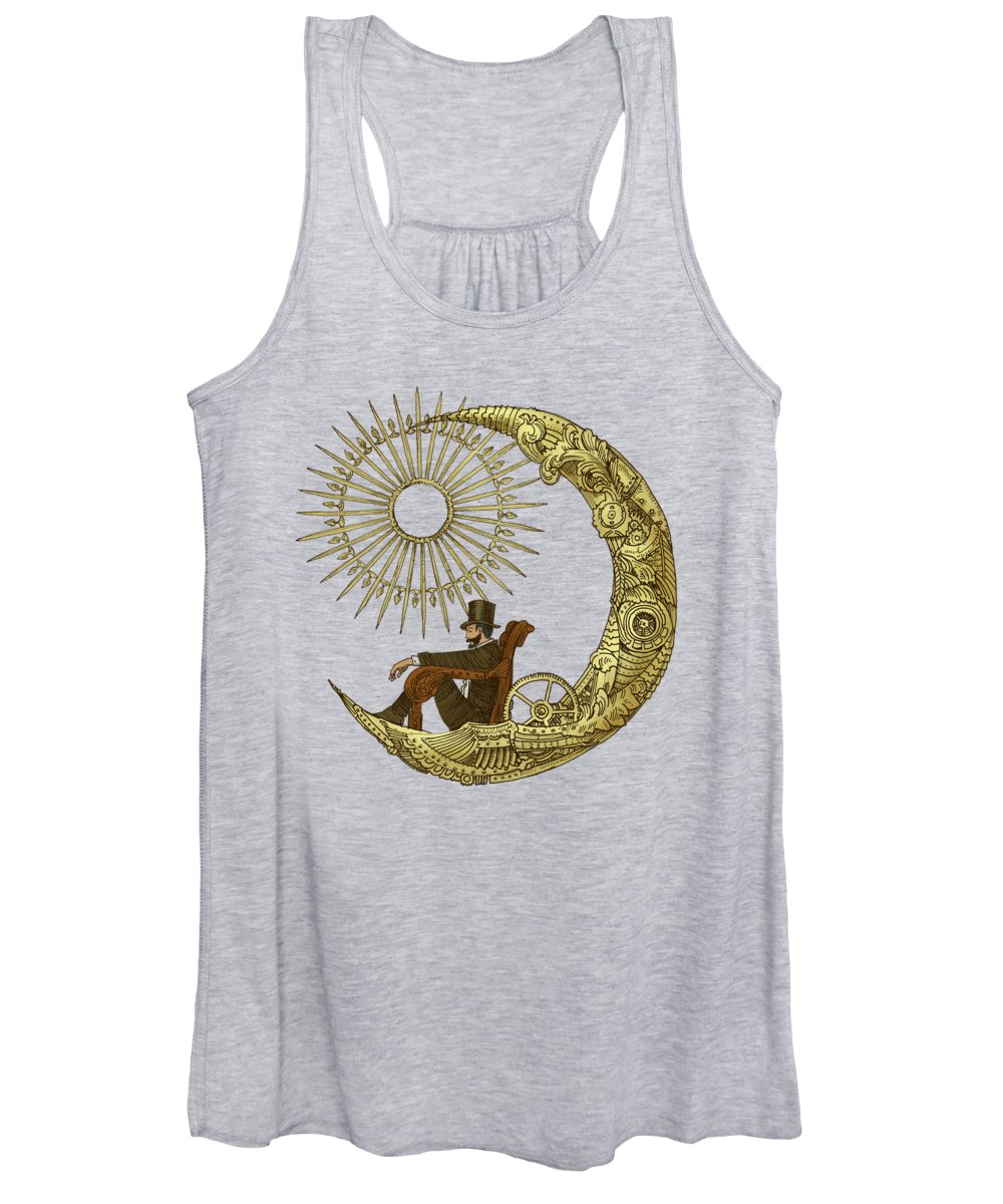 Moon Women's Tank Top featuring the drawing Moon Travel - option by Eric Fan