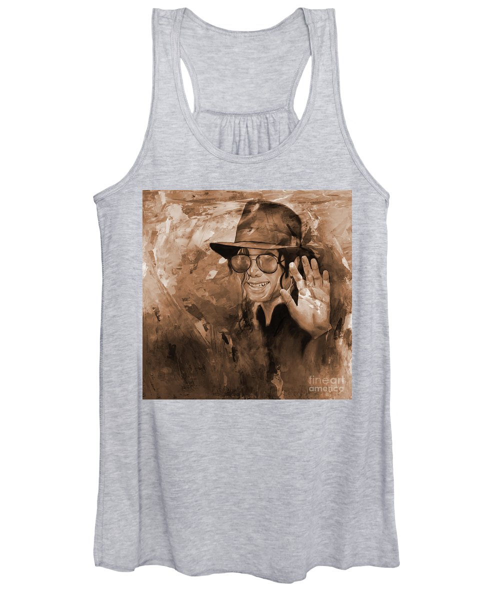 Michael Jackson Women's Tank Top featuring the painting Moon Walk by Michael Jackson by Gull G