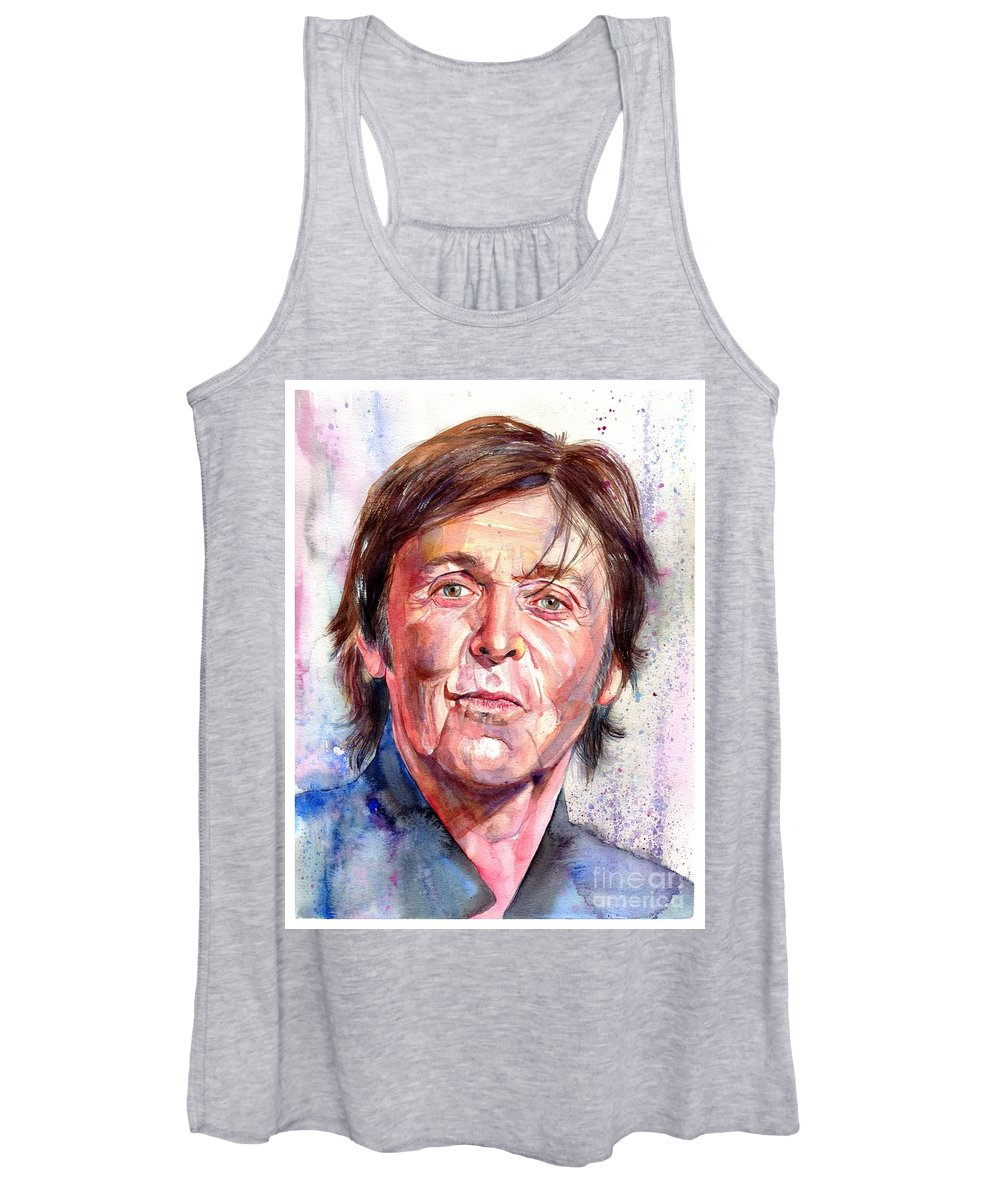 Paul Women's Tank Top featuring the painting Paul McCartney Watercolor by Suzann Sines