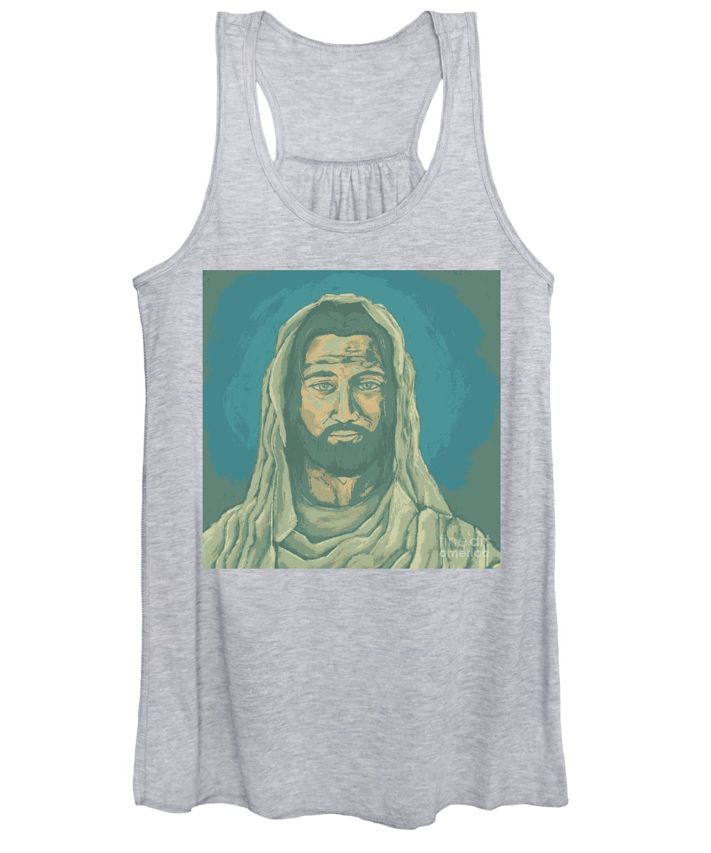 Jesus Women's Tank Top featuring the digital art Pop Art Jesus - Green by David Hinds