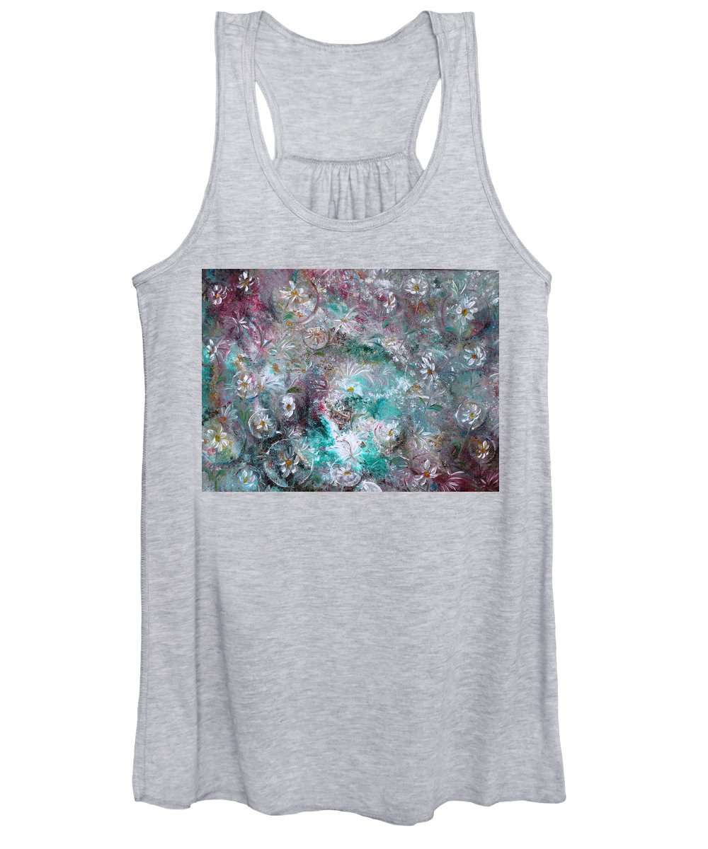 Original Flower Abstract Painting Women's Tank Top featuring the painting Daisy Dreamz by Karin Dawn Kelshall- Best
