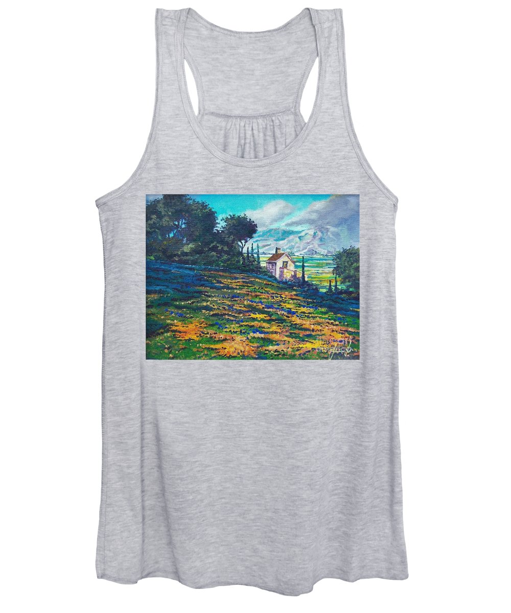 Flower Hill Women's Tank Top featuring the painting Flower Hill by Sinisa Saratlic
