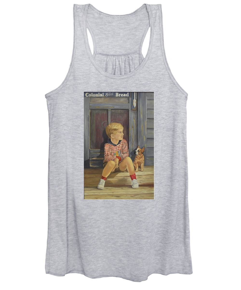 A Young Boy And His Dog Women's Tank Top featuring the painting Grandpas Country Store by Wanda Dansereau