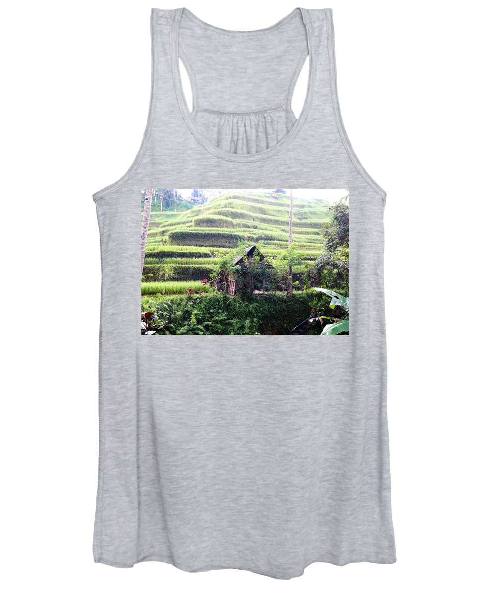 Hut Women's Tank Top featuring the digital art Little hut surrounded by flowers by Worldvibes1