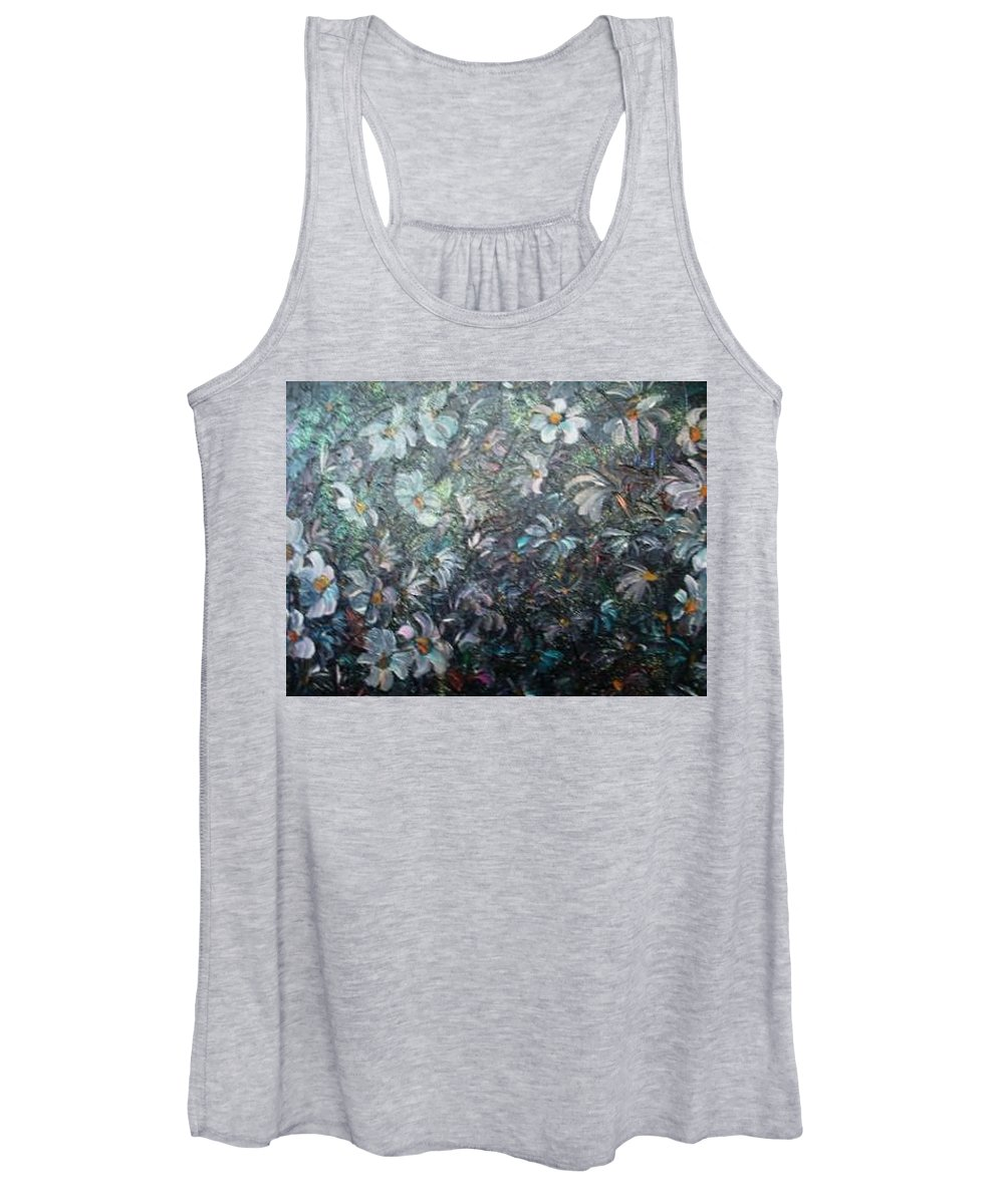 Floral Daisies Abstract Women's Tank Top featuring the painting Moonlight And Daisies.. by Karin Dawn Kelshall- Best