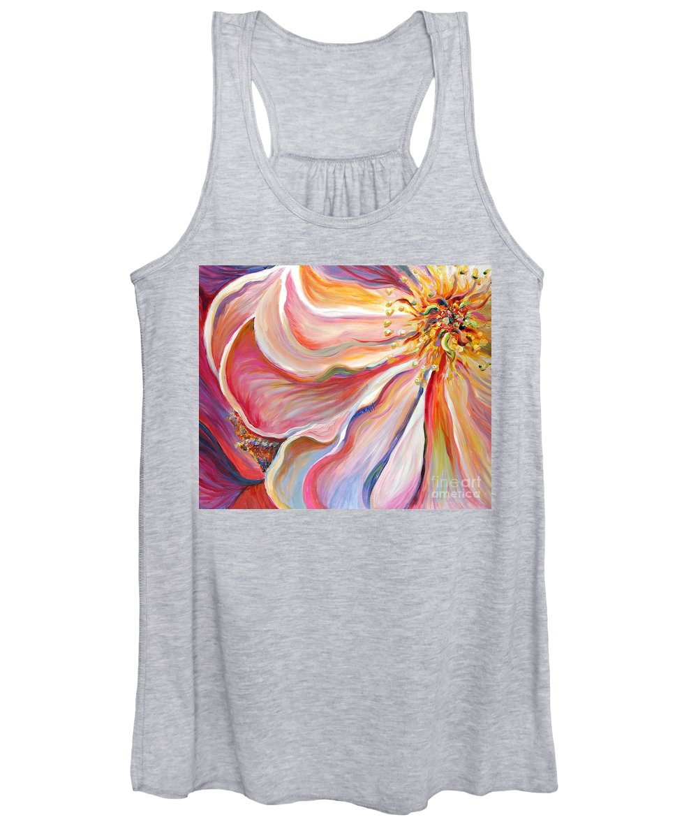 Pink Poppy Women's Tank Top featuring the painting Pink Poppy by Nadine Rippelmeyer