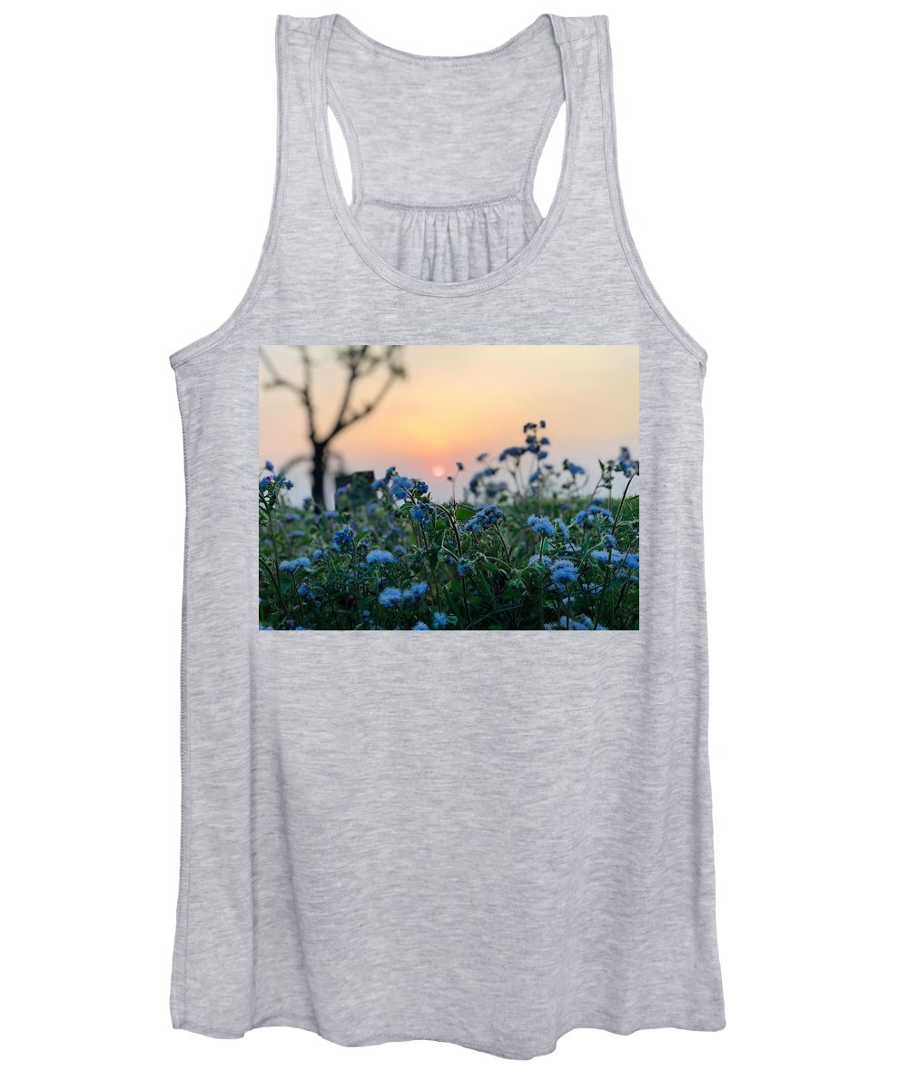 Flowers Women's Tank Top featuring the photograph Sunset Behind Flowers by Prashant Dalal