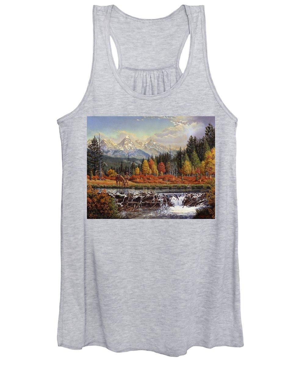 Western Mountain Landscape Women's Tank Top featuring the painting Western Mountain Landscape Autumn Mountain Man Trapper Beaver Dam Frontier Americana Oil Painting by Walt Curlee