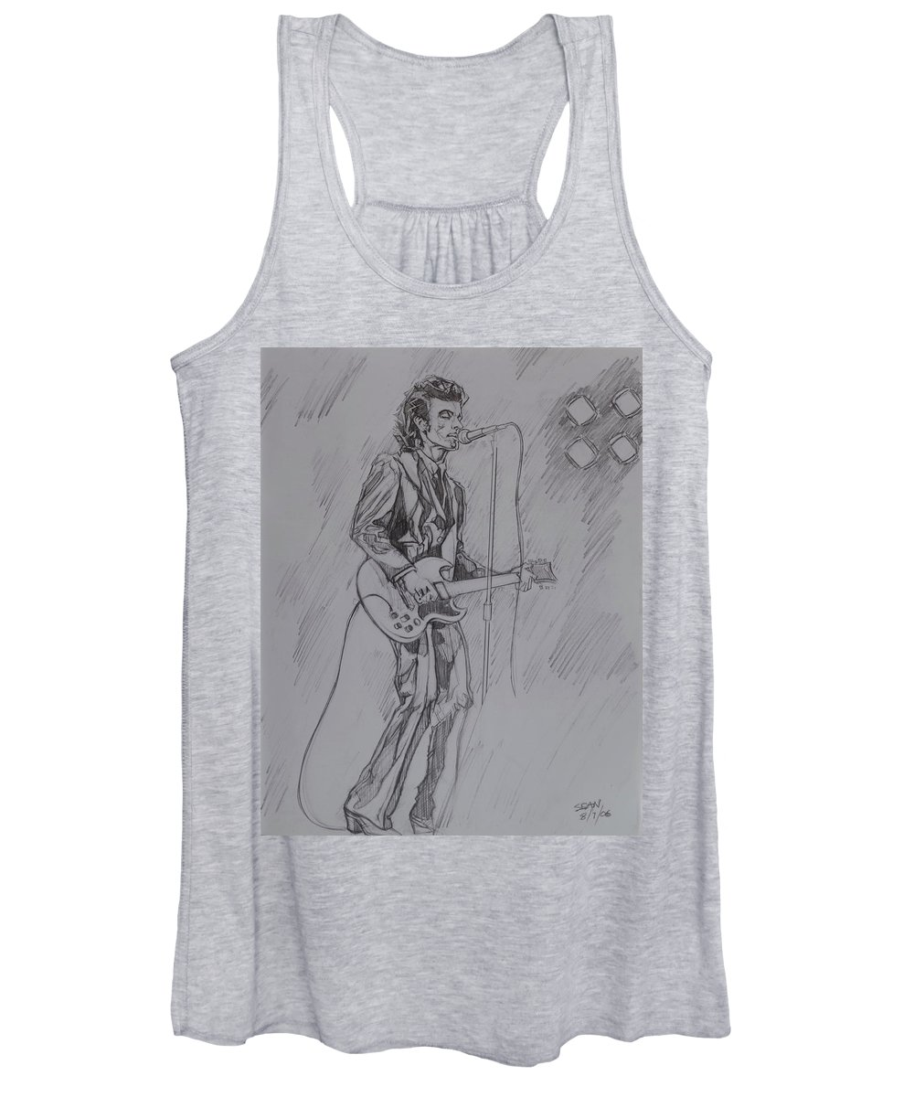 Pencil Women's Tank Top featuring the drawing Willy DeVille - Steady Drivin' Man by Sean Connolly