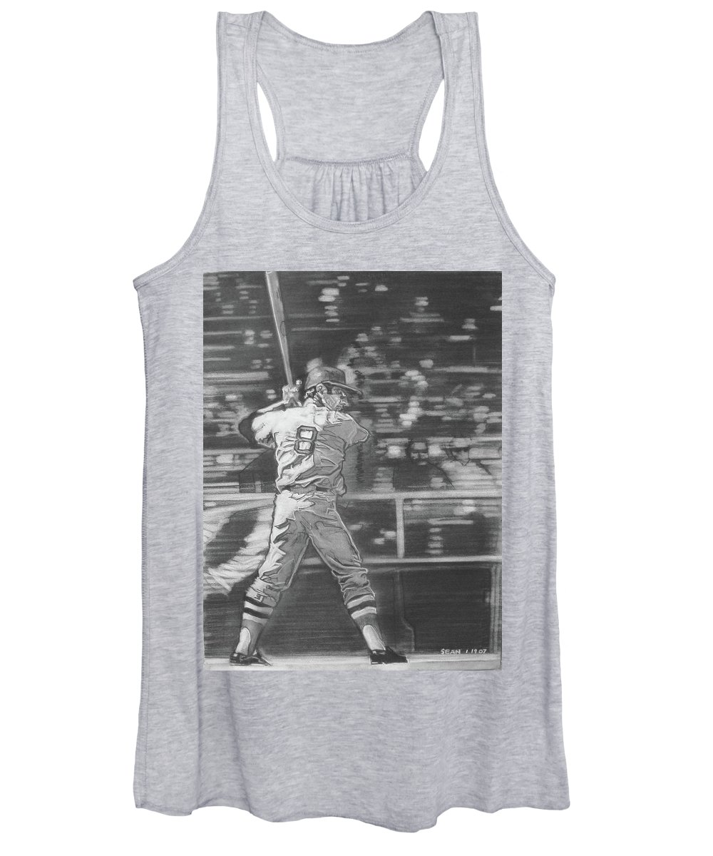 Charcoal On Paper Women's Tank Top featuring the drawing Yaz - Carl Yastrzemski by Sean Connolly