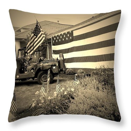United States Army Prints Throw Pillow featuring the photograph       America by R A W M