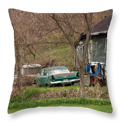 Old Car Canvas Prints Throw Pillow featuring the photograph     In The Ghetto by R A W M