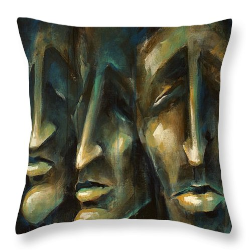 Expressionist Throw Pillow featuring the painting ' Jury Of Eight ' by Michael Lang