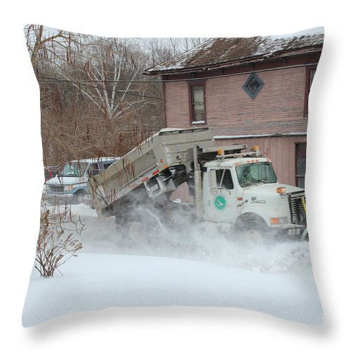 Snow Plow Photograph Prints Throw Pillow featuring the photograph   Ohio Snow Plow by R A W M