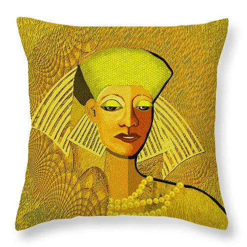 Woman Throw Pillow featuring the painting 189 Metallic Woman Golden Pearls by Irmgard Schoendorf Welch