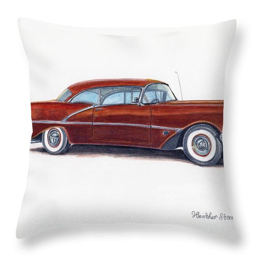 Car Throw Pillow featuring the drawing 1956 Oldsmobile Super 88 by Heather Stinnett