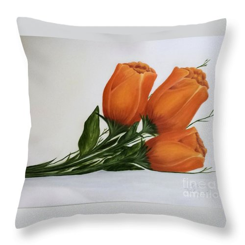 Flowers Throw Pillow featuring the painting # 41 by Victoria Parrell