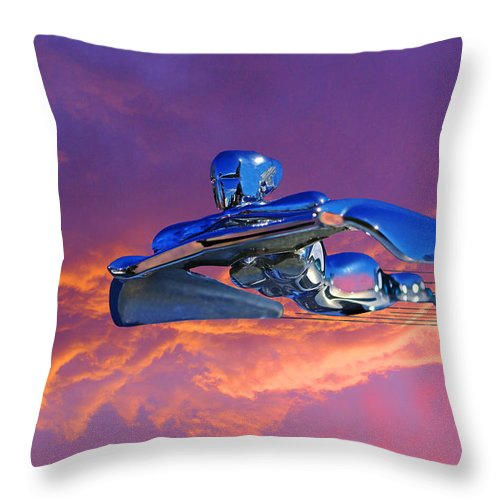 Flying Lady Mascot Throw Pillow featuring the photograph A Flying - Flying Lady by Rich Walter