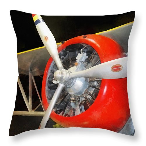 Steampunk Throw Pillow featuring the photograph Airplane - F3f-2 Biplane by Susan Savad