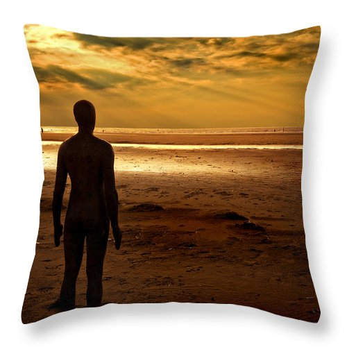 Antony Gormley Throw Pillow featuring the photograph Another Place Number 8 by Meirion Matthias