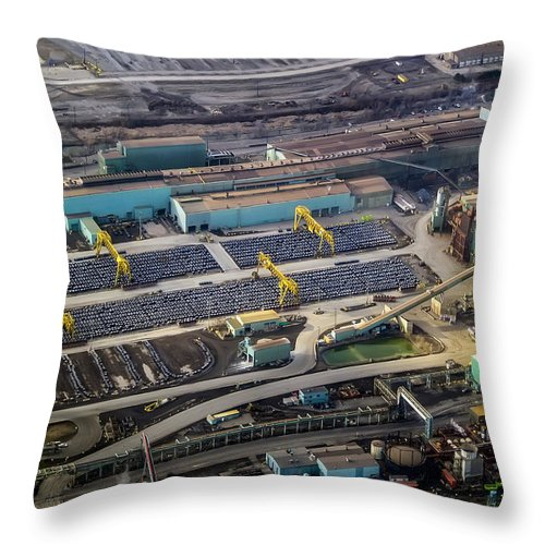 Aerial Throw Pillow featuring the photograph Arcelormittal Dofasco by Urbanmoon Photography