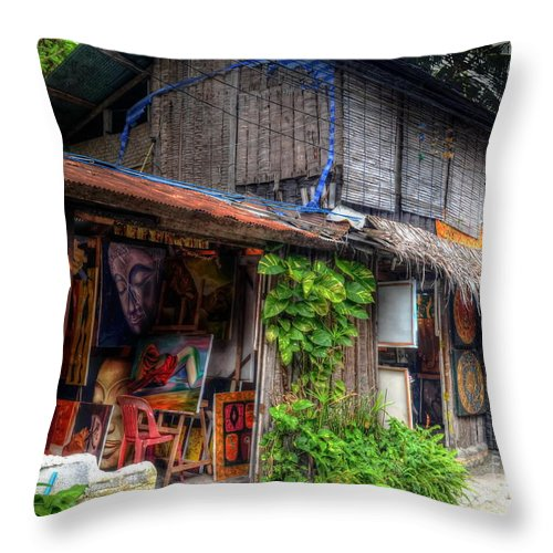 Michelle Meenawong Throw Pillow featuring the photograph Art Shop by Michelle Meenawong