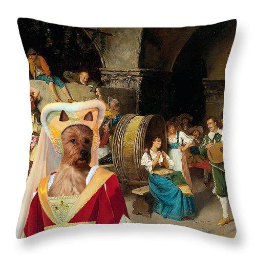 Australian Terrier Throw Pillow featuring the painting Australian Terrier Art Canvas Print by Sandra Sij